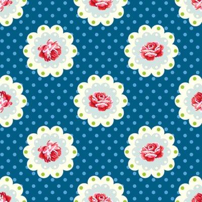 Sticker Vintage rose pattern. Shabby chic style