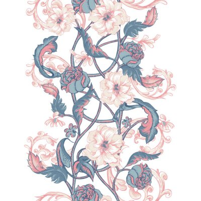 Sticker Vintage seamless border with blooming magnolias, roses and twigs