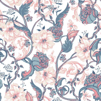 Sticker Vintage seamless pattern with blooming magnolias, roses and twig