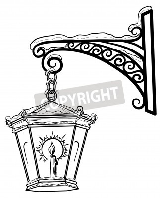 Sticker Vintage street lamp glowing in the snow, hanging on a decorative bracket. Contours.