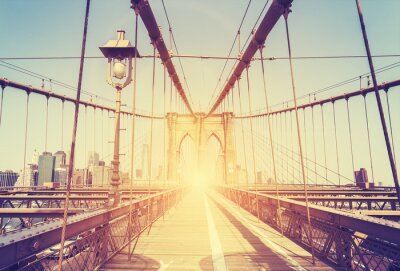 Sticker Vintage stylized picture of Brooklyn Bridge, NY.