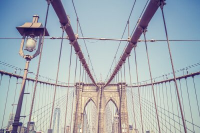 Sticker Vintage toned picture of the Brooklyn Bridge, NYC.