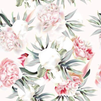 Sticker Vintage vector pattern with peach peony, leafs and tropical plants
