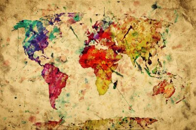 Sticker Vintage world map. Colorful paint, watercolor on grunge paper