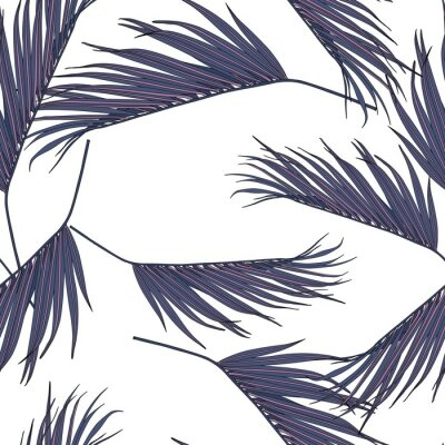 Sticker Violet coconut palm leaves by hand drawing and sketch with line-art seamless pattern on white  backgrounds.