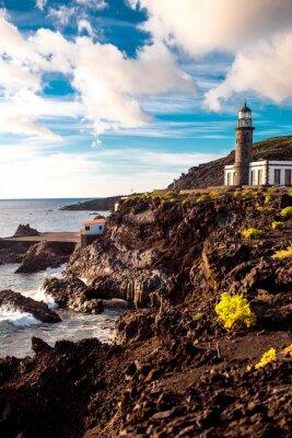 Sticker Volcanic landscape with lighthouse near salt factory Fuencaliente on La Palma island in Spain