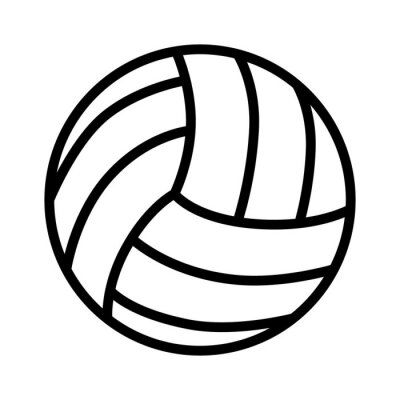 Sticker Volleyball ball line art icon for sports apps and websites