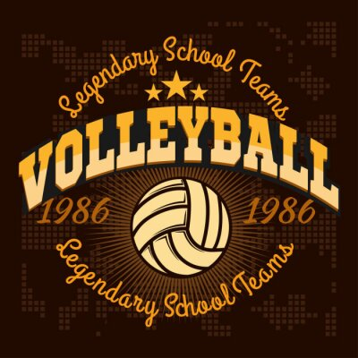 Sticker Volleyball championship logo with ball - vector illustration.
