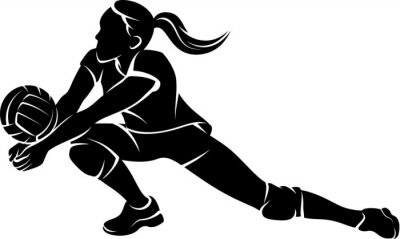 Sticker Volleyball Dig Girl Silhouette