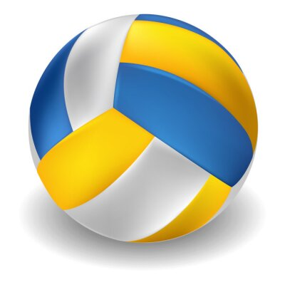 Sticker Volleyball isolated on white Background. All elements are in separate layers and grouped.