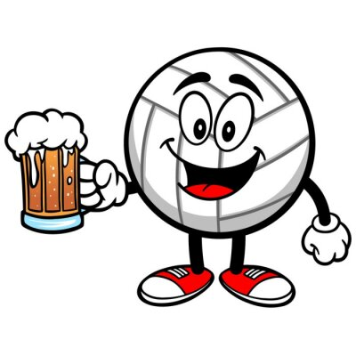 Sticker Volleyball Mascot with Beer