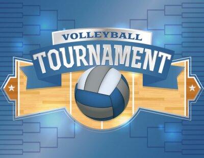 Sticker Volleyball Tournament Design Poster Illustration