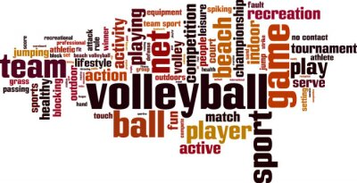 Sticker Volleyball word cloud concept. Vector illustration
