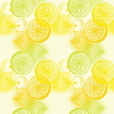 Sticker Wallpaper seamless pattern with hand drawn oranges citrus. Drawi