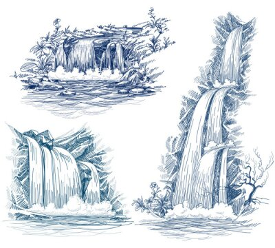 Sticker Water falls vector drawing