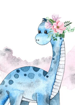 Sticker Watercolor and graphic dinosaurs pre-made cards with Brachiosaurus, Stegosaurus on white background with watercolor shapes