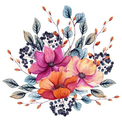 Sticker Watercolor Autumn Floral Composition with Pink and Red Flowers