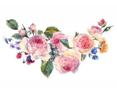 Sticker Watercolor bouquet of English roses and wildflowers