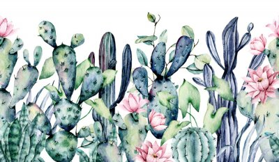 Sticker Watercolor cacti, seamless border, hand drawn flower illustration. Perfect for floral design greeting card, blog, site, banner, wedding invitation. Isolated on white.  Cacti collection.