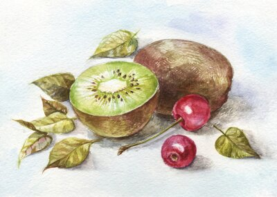 Sticker watercolor cherry and kiwi