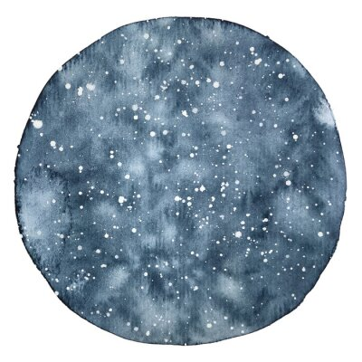 Sticker Watercolor circle backround of a night sky