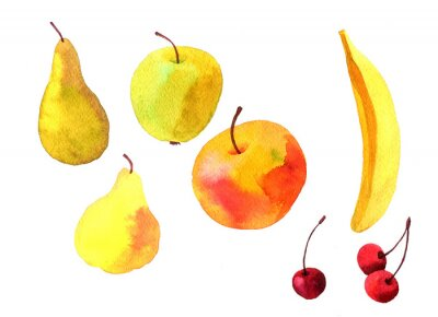 Sticker watercolor drawing fruits