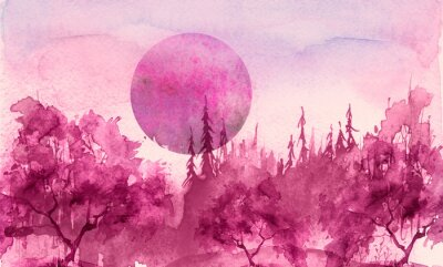 Sticker Watercolor drawing, illustration. Forest landscape, fir, pine, tree, cedar, red, pink sun, sunset, sunrise. Splash paint, abstract illustration. Art painting. Winter landscape. Mystic forest