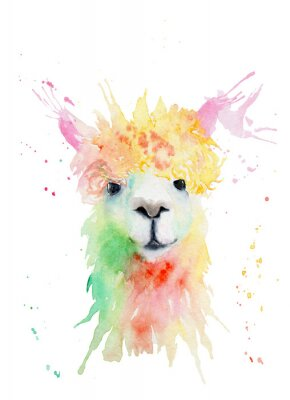 Sticker watercolor drawing of an animal - alpaca, drops, splashes