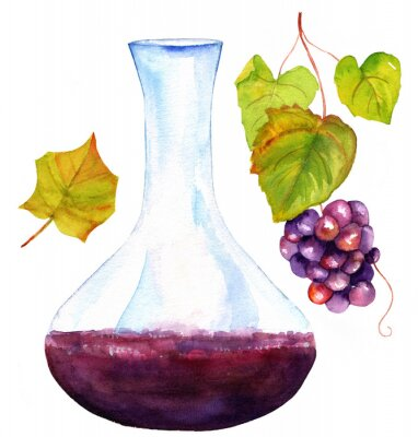Sticker Watercolor drawings of wine decanter, vine leaf, and grapes