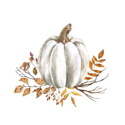 Sticker Watercolor fall pumpkin arrangement, beautiful autumn decoration, isolated on white background. Watercolor white pumpkin with yellow and orange dry leaves and tree branches.