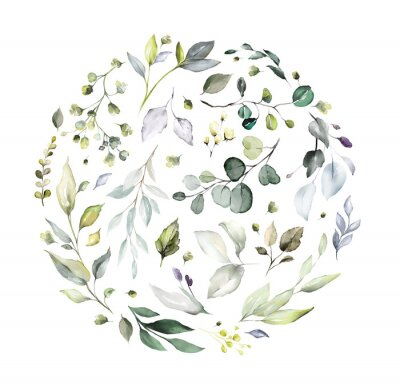 Sticker  watercolor floral arrangements with leaves, herbs.  herbal illustration. Botanic composition for wedding, greeting card. round composition