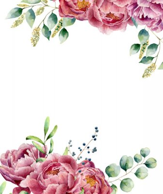 Sticker Watercolor floral card  isolated on white background. Vintage style posy set with eucalyptus branches, peony, berries, greenery and leaves. Flower hand painted design