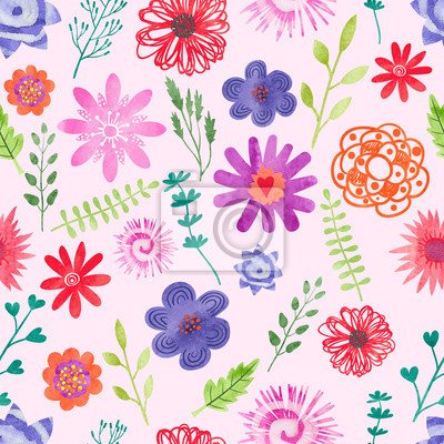 Sticker Watercolor floral seamless pattern. Vector background with colorful flowers and leaves.