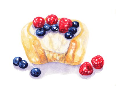 Sticker Watercolor fruit tart cheesecake with berries on white background