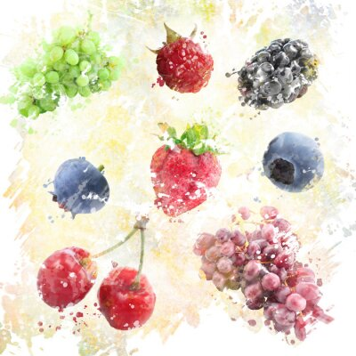 Sticker Watercolor Fruits Background