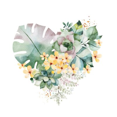 Sticker Watercolor Green illustration.1 arrangement with succulents,palm leaves,branches,yellow flowers and more.Perfect for wedding,quotes,Birthday and invitation cards,print,blog,bridal cards,Valentines day