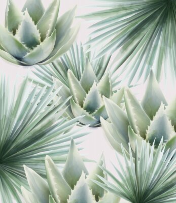 Sticker Watercolor green palm and cactus leaves. Background vector