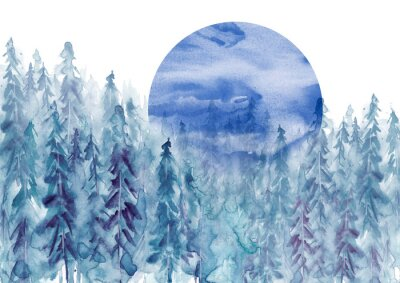 Sticker Watercolor group of trees - blue fir, pine, cedar, fir-tree. Forest on the slope, cliff, grief. Blue forest, landscape, fog forest landscape, slope, mountain. Full moon, eclipse.