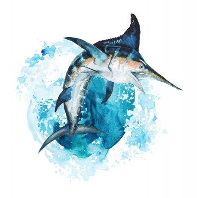 Sticker Watercolor hand-drawn marlin illustration - jumping up from the foamy ocean wave, playful, happy. Character, logo, children wallpaper, doodle, cartoon. Marine clip art. Ocean, sea inhabitant.