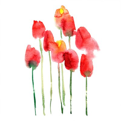 Sticker Watercolor hand painted red and yellow tulips
