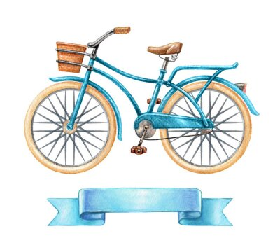 Sticker watercolor illustration, blue bicycle, retro bike, blank ribbon tag, banner, label, transport clip art isolated on white background