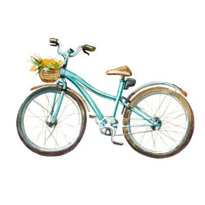 Sticker Watercolor illustration. girl's mint bicycle with basket full of yellow flowers.