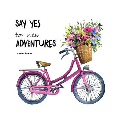 Sticker Watercolor illustration of a bicycle with flowers