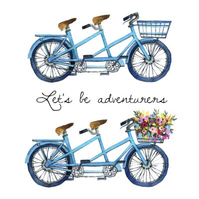 Sticker Watercolor illustration of a tandem bicycles