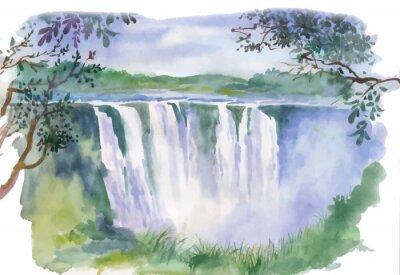 Sticker Watercolor illustration of beautiful waterfall