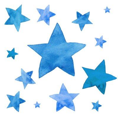 Sticker Watercolor illustration of blue stars set