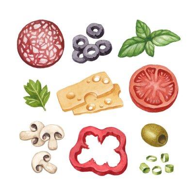 Sticker Watercolor illustration of food ingredients
