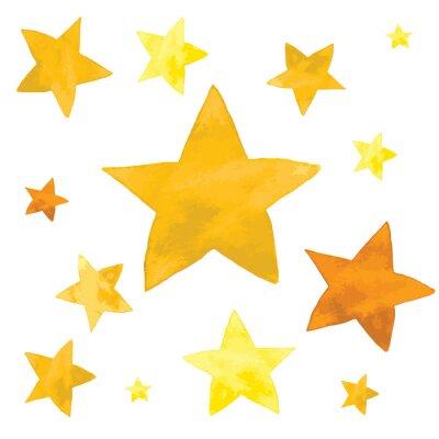 Sticker Watercolor illustration of yellow stars set