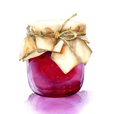 Sticker watercolor jar with a red berries jam