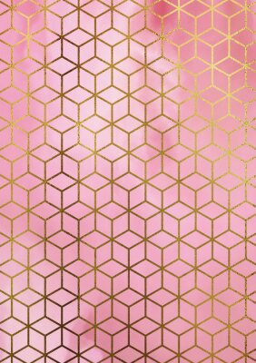 Sticker Watercolor marble background with geometric cube pattern.